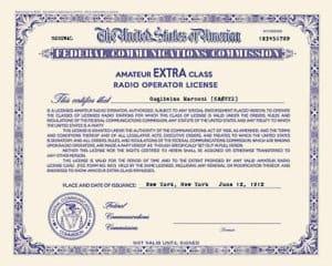ham radio license certificate